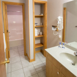 2,000 sq. ft. townhouse with 4 bedrooms - Guest bathroom vanity and storage