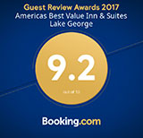 2017 Booking.com Award for Americas Best Value Inn & Suites Lake George