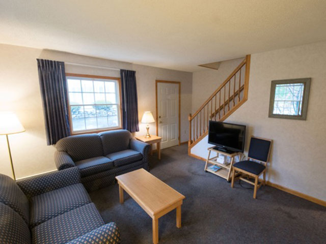 living room in the two bedroom suite