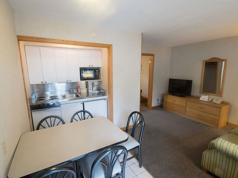 Efficiency Suite kitchenette and living room